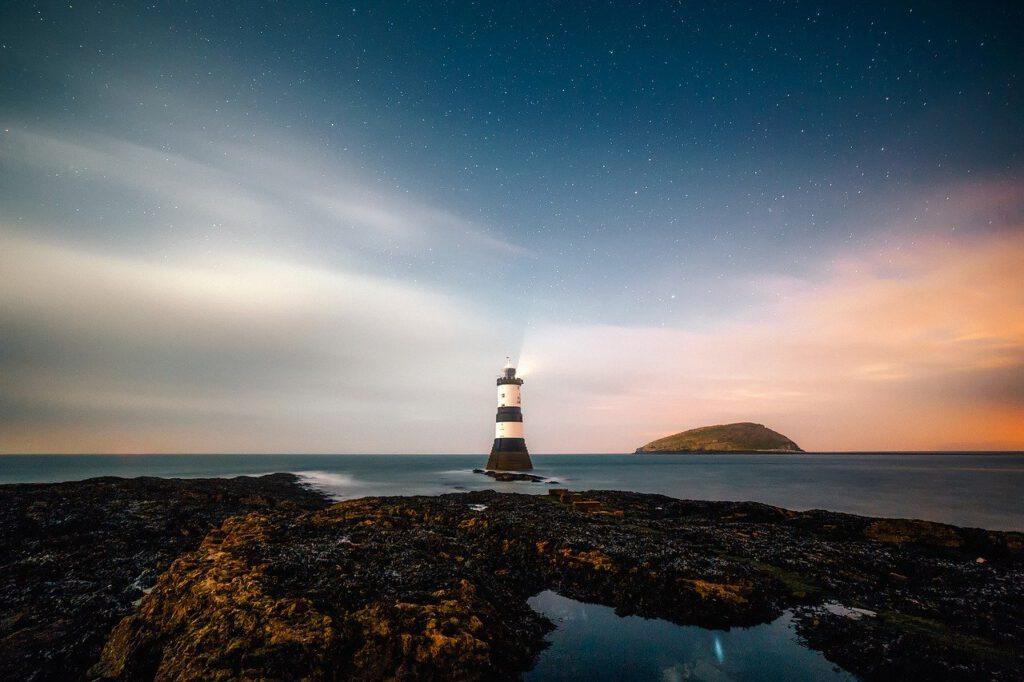 lighthouse, remote, sky