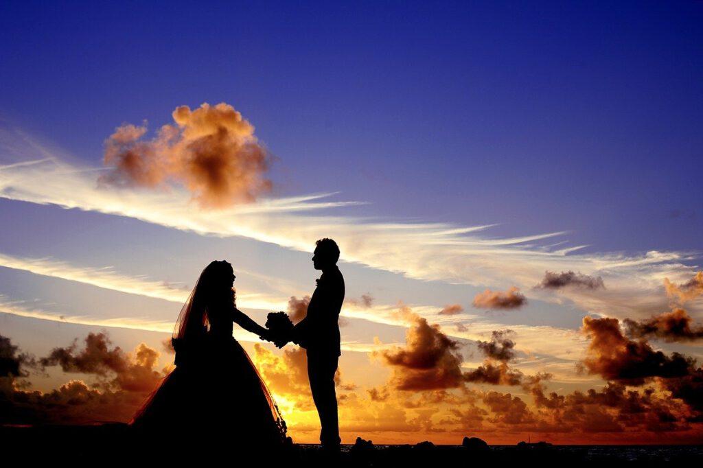 sunset, wedding, bride